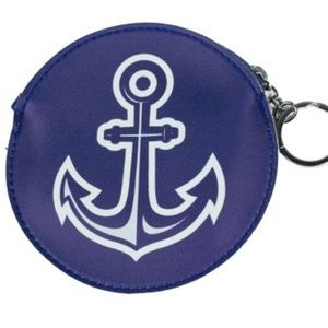 NEW Round Coin Purse Anchor Keyring Key Ring Chain